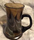"Amber Art Glass Tapered Mug Color Swirl Aqua Green Blue Handle  6"" Heavy Beer"
