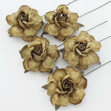 25 Gold Mulberry Paper Flowers Wedding Rose Headpiece Scrapbook Supply R40-Gold