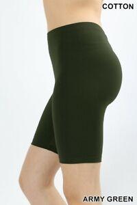 Women's Fitness Bike Shorts Soft Stretch Leggings Cotton Spandex Workout Yoga
