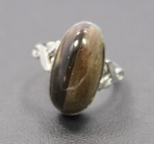 Sterling Silver Brown Colored Agate Ring Sz 5.75 / 3.6g