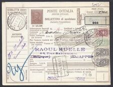STORIA POSTALE REGNO 1928 Modulo Pacchi Postali 12,5L da Camerano a Jemappes(E8)