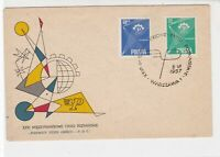 Poland 1957 International Fair in Poland slogan Cancel FDC Stamp Cover Ref 23040