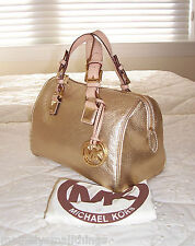 New with Defects Michael Kors Small GRAYSON Satchel Bag PALE GOLD Leather