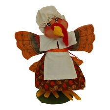 "PILGRIM GIRL TURKEY Annalee Autumn Thanksgiving 2014 Doll 7 "" Table Decoration"