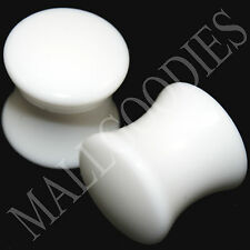 0439 Double Flare Saddle Solid White Acrylic Plugs Earlets 00 Gauge 00G 10mm 2pc