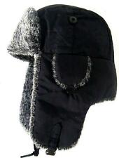 RUSSIAN FUR USHANKA HAT Mens Medium black & grey winter trapper Gents ushanka