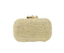 Fashion Gold Crystal Glass Rhinestone Clutch Evening Bag Diamonds Gold Frame