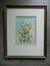 Snowdrops, Pretty Watercolour Still Life. JLM Monogram. Vintage
