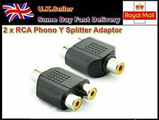 2 X RCA Phono Y Splitter Adaptor Connector 1 Female T0 2 Female Audio Video