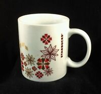 Starbucks Christmas Mug CUP 12 Oz Poinsettia Snowflakes Red Gold FREE SHIPPING