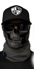 TACTICAL GRAY SKULL Tubular Bandana Face Shield Sun Mask Balaclava