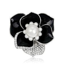Fashion Charms Silver Plated Crystal Pearl Black Enamel Flower Brooch Pin
