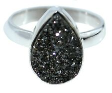 925 Sterling SILVER Natural Gemstone Black Drusy Druzy Ring; Sizes K, 5 to Y, 12