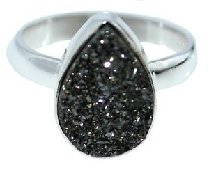 Black Drusy Druzy Ring Sizes K 5 to Y 12 925 Sterling SILVER Natural Gemstone