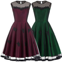 Womens Vintage 1950s Pin up Girls Evening Flared Housewife Swing Dress S/M/L/XL