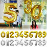 """40"""" Gold/Silver Foil Number Balloons for Birthday Party Helium Digit Balloon Hot"""