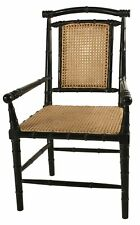 "Set of two Christopher 22"" W Bamboo Arm Dining Chair Caning Hand Rubbed Black"
