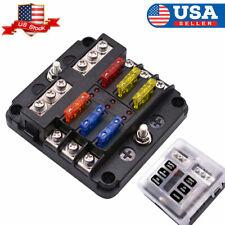 12v 24v car marine 6 way auto blade fuse box block holder with led  indicator us