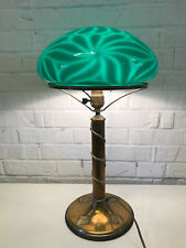 Antique Brass & Glass Table / Desk Lamp Green Cased Glass Floral Decoration