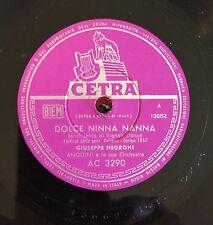 "RARE 78RPM 10"" FESTIVAL ZURIGO 1957 GIUSEPPE NEGRONI DOLCE NINNA NANNA SOLE SORG"