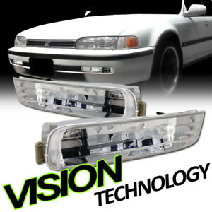 For 92-93 Honda Accord Crystal Chrome Clear Front Signal Parking Bumper Lights