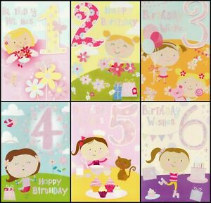 GIRLS AGES 1-2-3-4-5-6 - BIRTHDAY GREETING CARD -  MULTIPLE DESIGN'S - FREE P&P