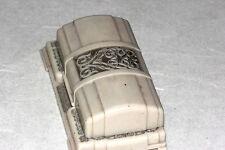 ART DECO EARLY PLASTIC PRESENTATION DOMED WHITE WATCH BOX W & S NEW YORK w/WATCH
