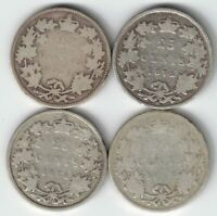 4 X CANADA 25 CENT QUARTERS VICTORIA 925 SILVER COINS 1870 1872H 1874H 1883H