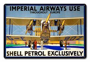 "Imperial Airways Petrol Large Metal Sign 18"" x 12""  (pst)"