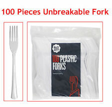 White Strong Plastic Cutlery Set of Forks (Pack of 100) for Party, Wedding