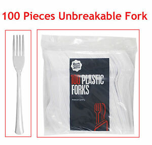 White Strong Plastic Cutlery Set of Forks Pack of 100 for Party Wedding Catering