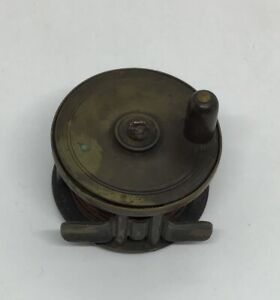 "Antique Brass Fly Fishing Reel English 5 Pillars Single Action Small 2.5""W Works"