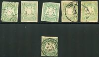 GERMAN STATES BAVARIA 1 KR. SCOTT#15  LOT OF 6  USED NO THINS  AS SHOWN