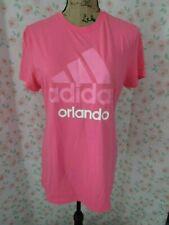 ADIDAS, JUNIOR'S Pink/White Pol Bl Short Sleeved ADIDAS ORLANDO T-Shirt, Size L