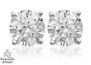 CERTIFIED .75ct ROUND-CUT F/VS2 GENUINE DIAMONDS IN 14K GOLD STUDS EARRINGS