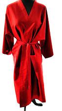 "Red 100% Silk Robe 41"" long , 40"" Chest, Kimono Wrap, belt, new, handmade"