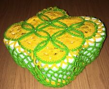 Hand Made Toilet Paper Cover Green & Yellow - Fast Shipping !