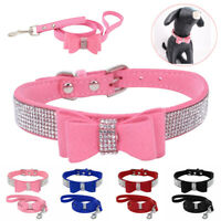 Bling Rhinestone Dog Collar & Leads Soft Suede Bow For Small Pet Puppy Cat XXS-M