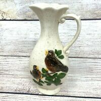 Vintage Small Ivory Speckled Porcelain Pitcher Two Birds On Tree Branch Signed