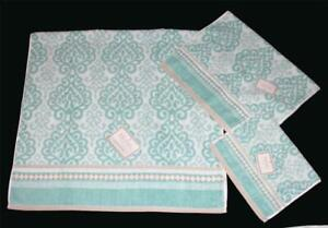 3 HOTEL COLLECTION Aqua FILIGREE Plush Terry Bath Hand Fingertip Towels NWT DISC