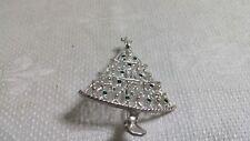 Crystal Christmas Tree Brooch Pin Silvertone Metal Filigree Clear Red Green