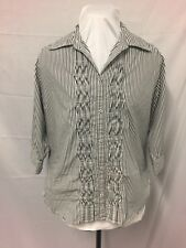 Blouse. White And Grey Stripe Size 10. Excellent Condition