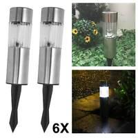 6 X Solar Powered Garden Lights Post Patio Outdoor Stainless Steel LED Lamp Ligh