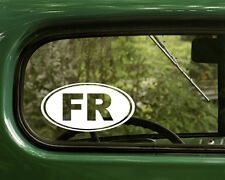 2 FR FRANCE STICKERs Oval Decal For Bumper Window Car Truck Rv Jeep Laptop