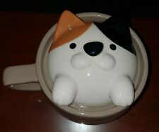 Cat Lovers Cat Lady Calico Cat Ceramic Soup Tea Coffee Pot Mug w/Cover-Euc!