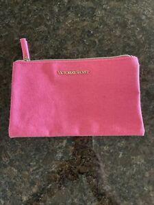 Victorias Secret Cosmetic Bag Make up Case Gold Logo Pink zip up NEW