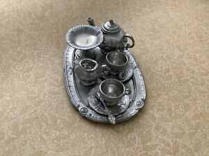 German miniature dolls house metal / pewter  tea-set with a tray