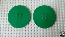 Lego Train Green 8 x 8 Round Tile Plate Disc Part No 6177 x 2  *NEW*