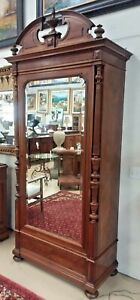 """Antique French Walnut Armoire H 102"""" Beveled Mirror Single Door 3 Drawers"""