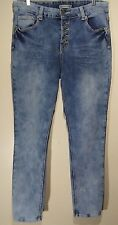 TWENTYONE BLACK Rue 21 13/14 Button Fly Blue Acid Wash High Waisted Flex Jegging